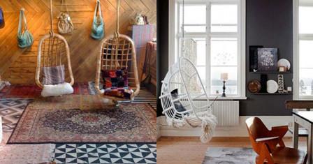 Подвесные кресла в интерьере дома
