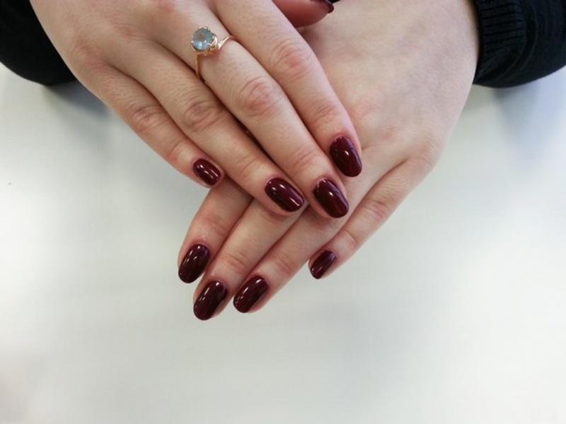 Фото шеллака на ногтях однотонный