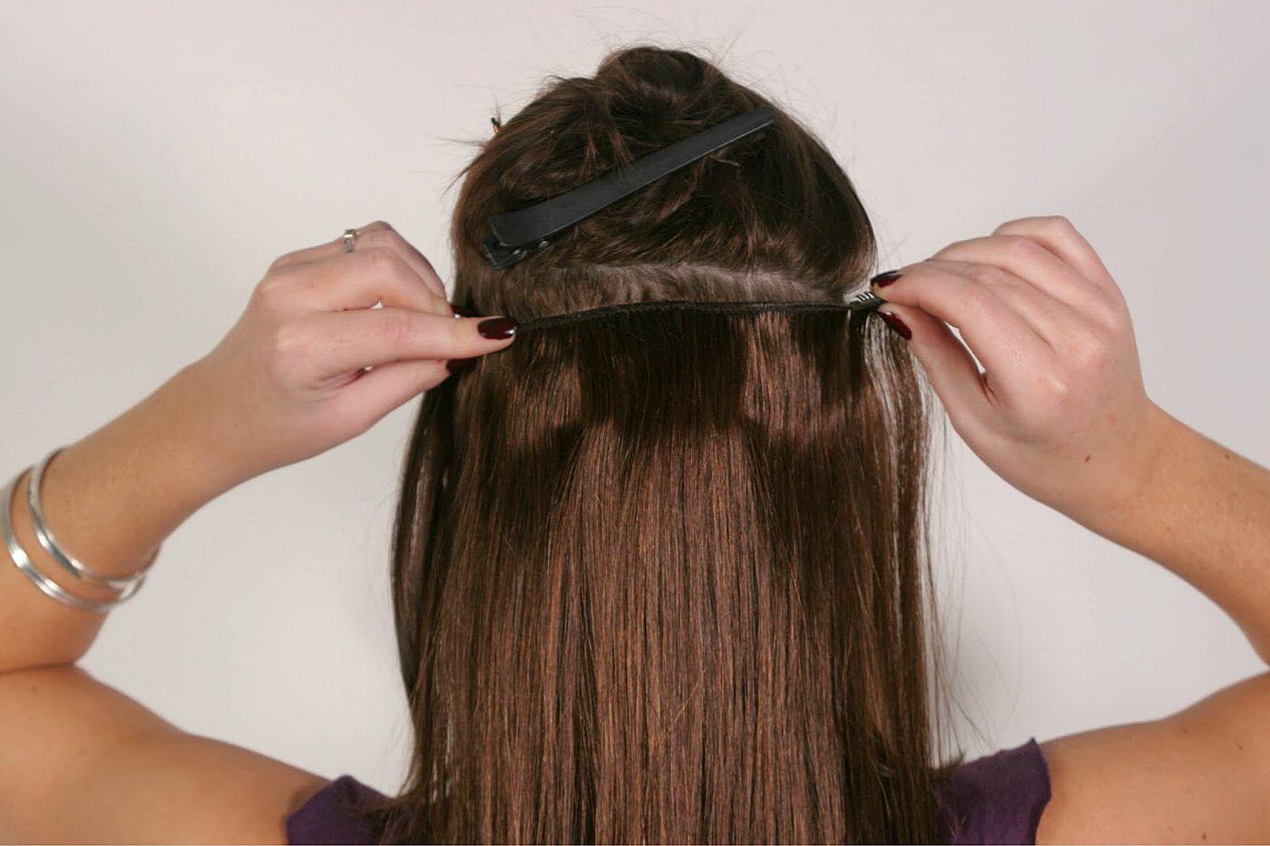 Как прицепить трессы на короткие волосы
